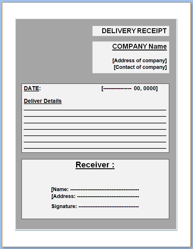Free Printable Delivery Receipt Template
