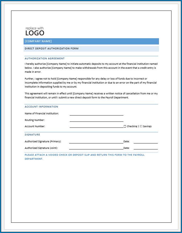 Free Printable Direct Deposit Authorization Form