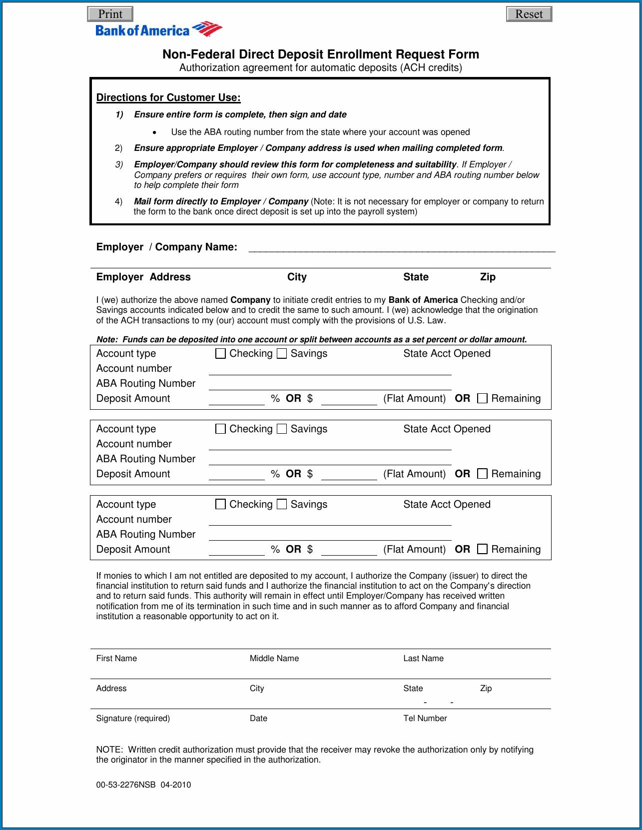 Direct Deposit Enrollment Form Sample