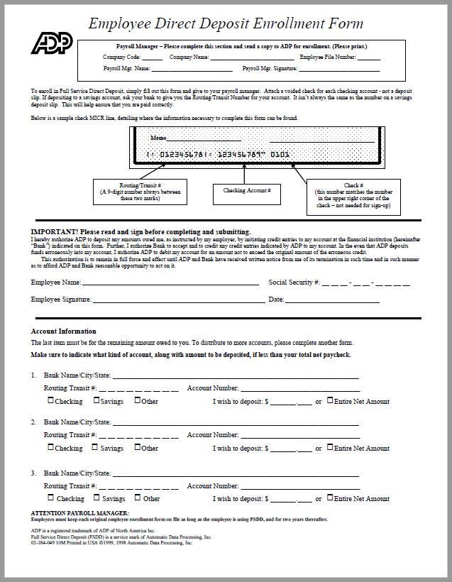 Free Printable Direct Deposit Enrollment Form