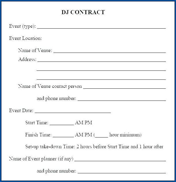 Dj Contract For Wedding Example