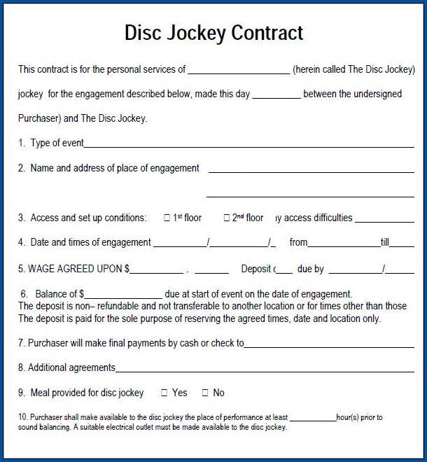 Dj Contract For Wedding Sample