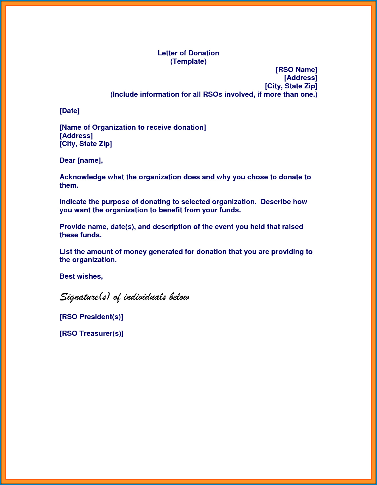 Donation Letter Template Example