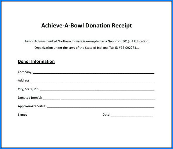 Donation Receipt Template Example