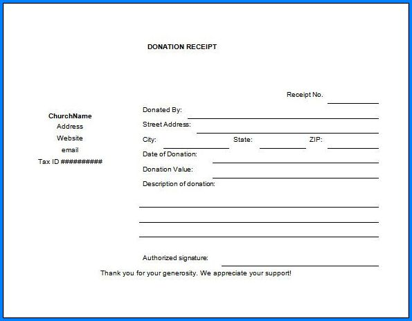 Donation Receipt Template Sample