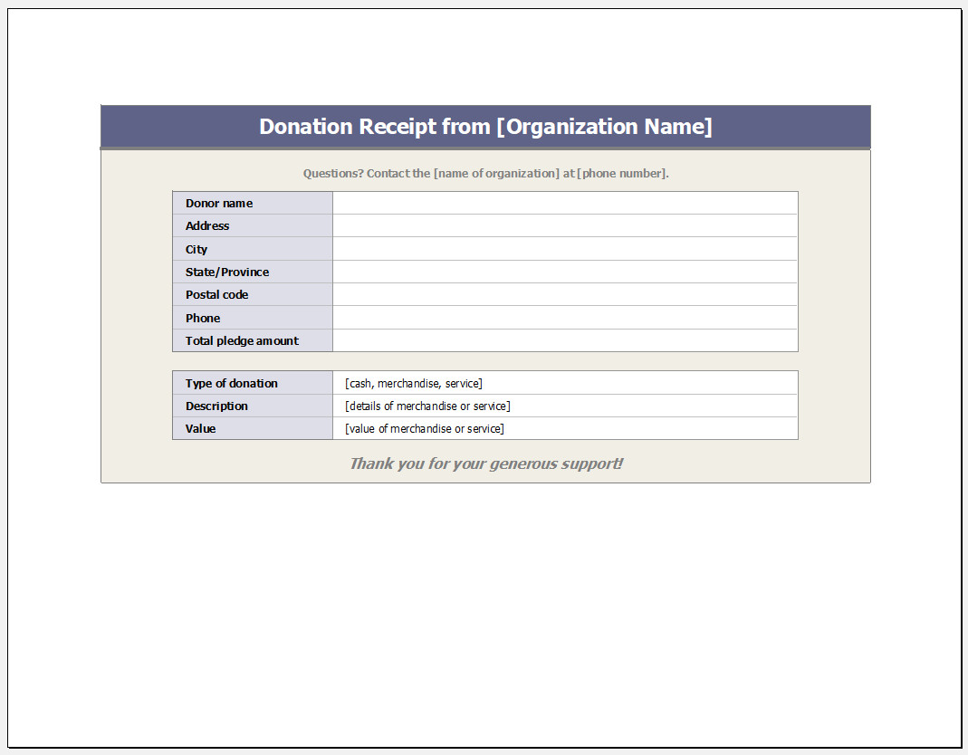 Free Customizable Donation Receipt Template