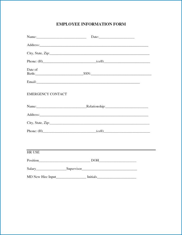 Employee Information Form Sample