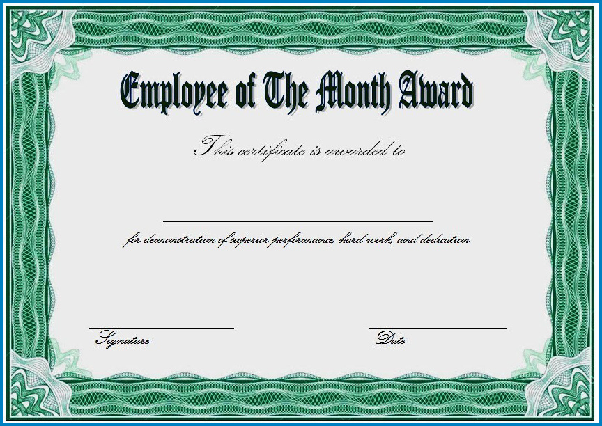 Employee Of The Month Certificate Template Example