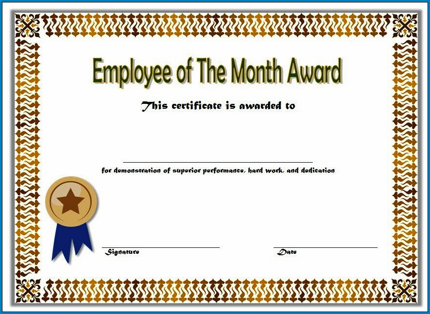 Employee Of The Month Certificate Template Sample