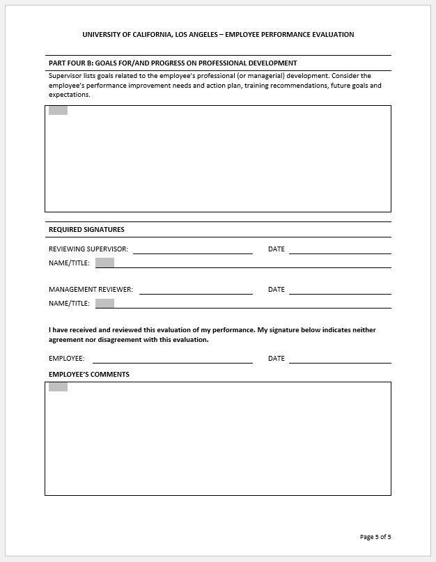 Free Printable Employee Performance Review Template