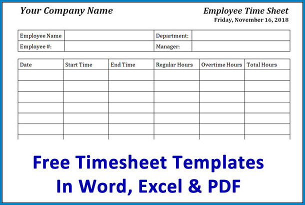 Employee Time Sheet Form Example