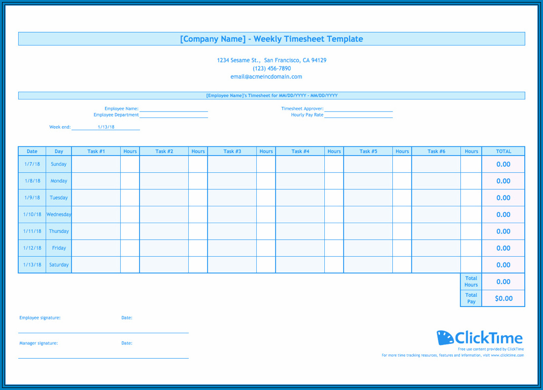Employee Time Tracking Excel Sample