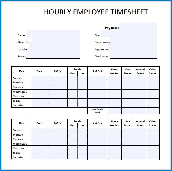 Employee Timesheet Sample