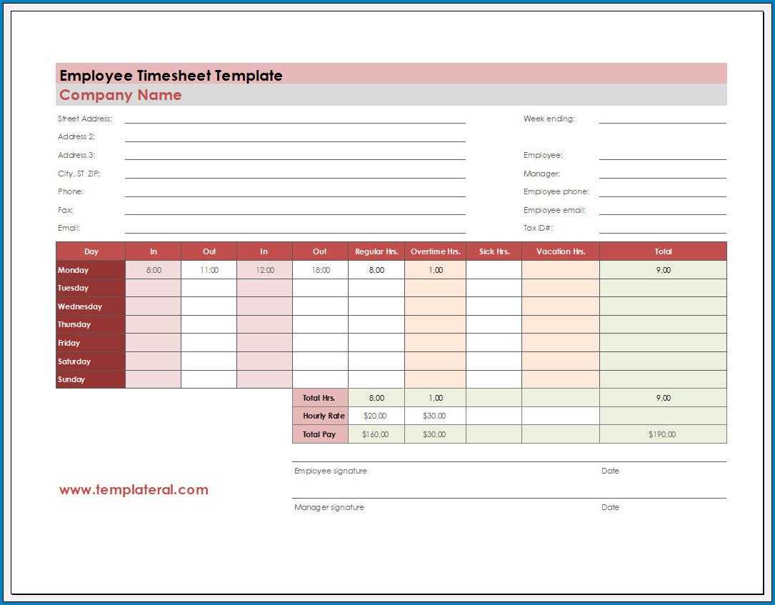 Free Printable Employee Timesheet Template