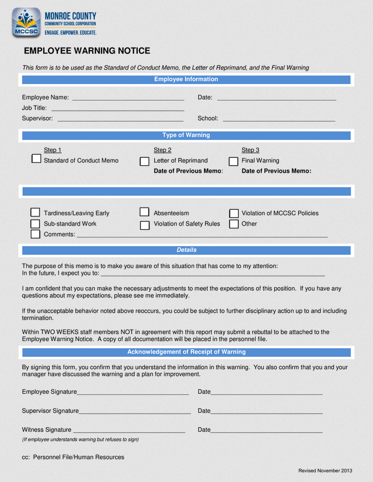 Employee Warning Notice Form Sample