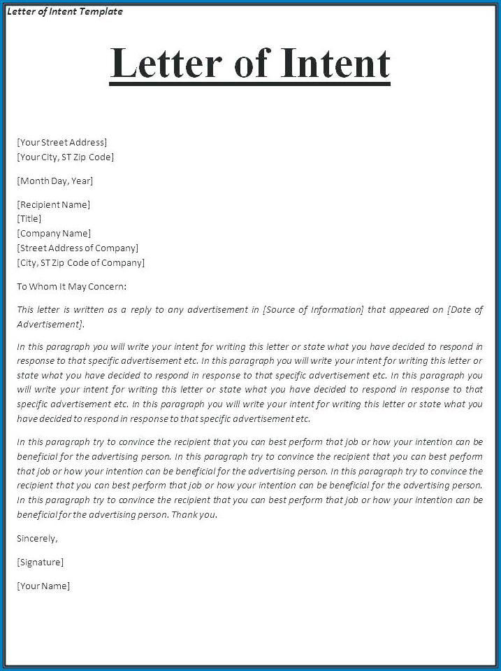 Employment Letter Of Intent Template Example