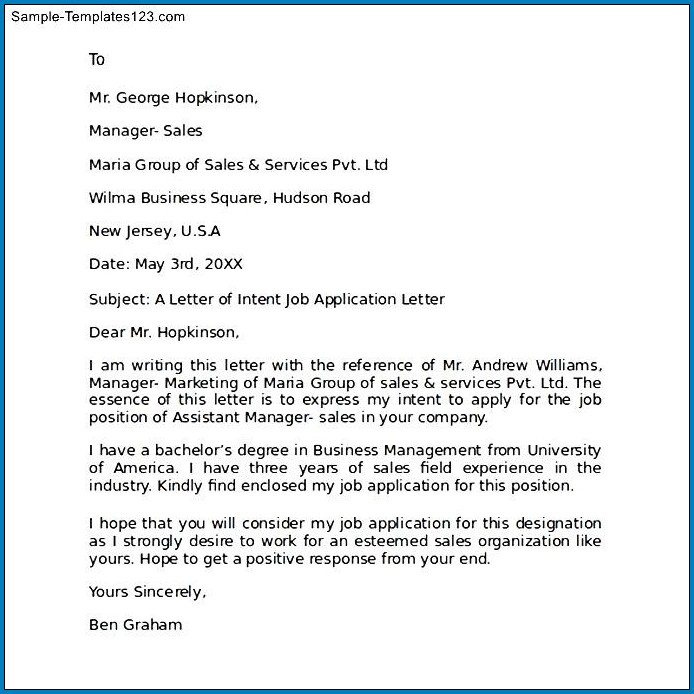Employment Letter Of Intent Template Sample