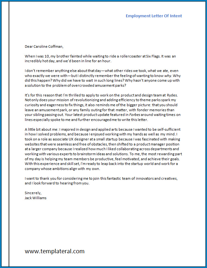 Free Printable Employment Letter Of Intent Template