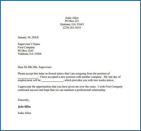 Employment Resignation Letter Template Sample