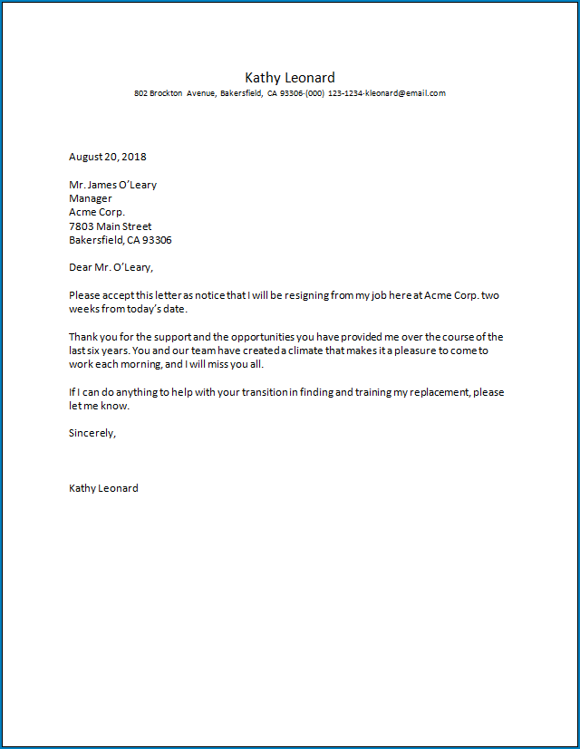 Employment Resignation Letter Template from www.templateral.com