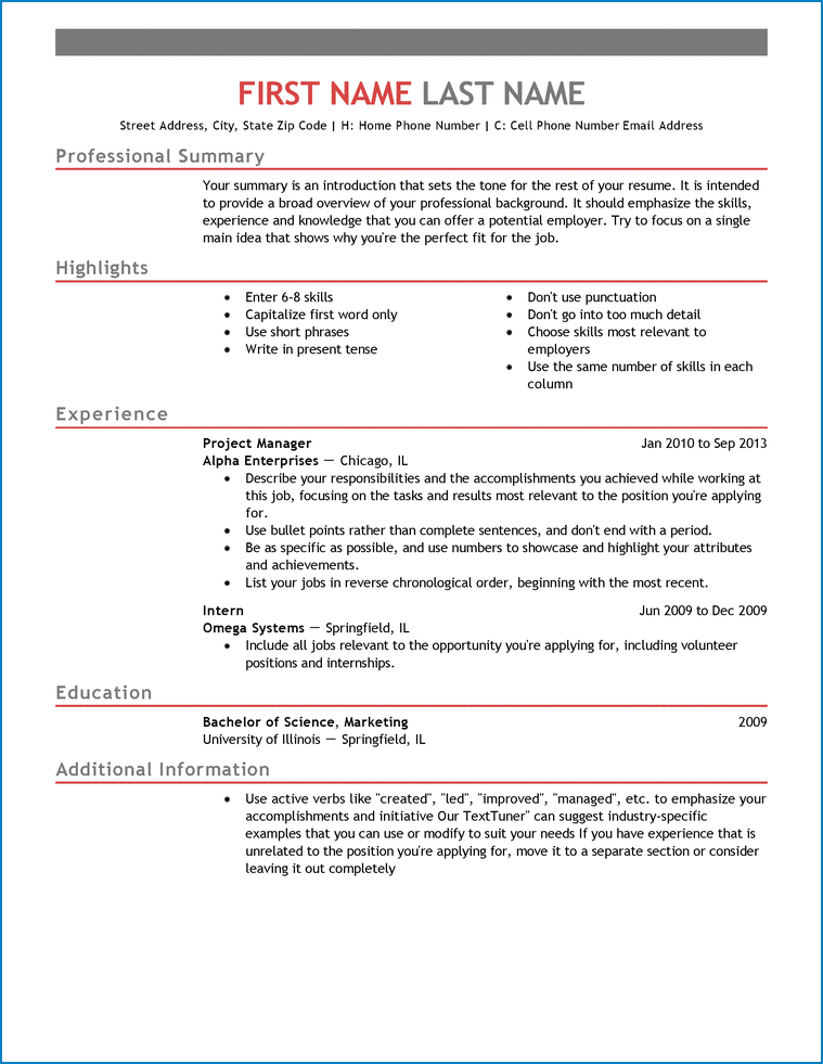 Entry Level Resume Template Word Example