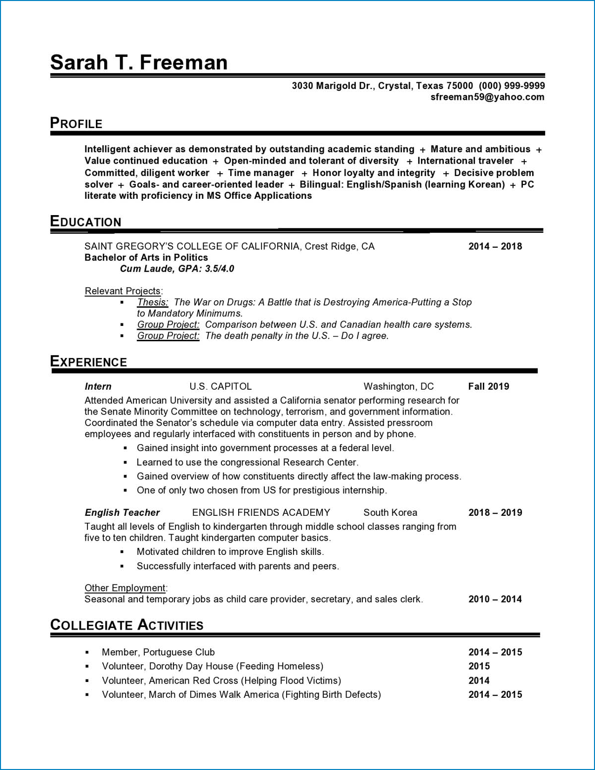 Entry Level Resume Template Word Sample