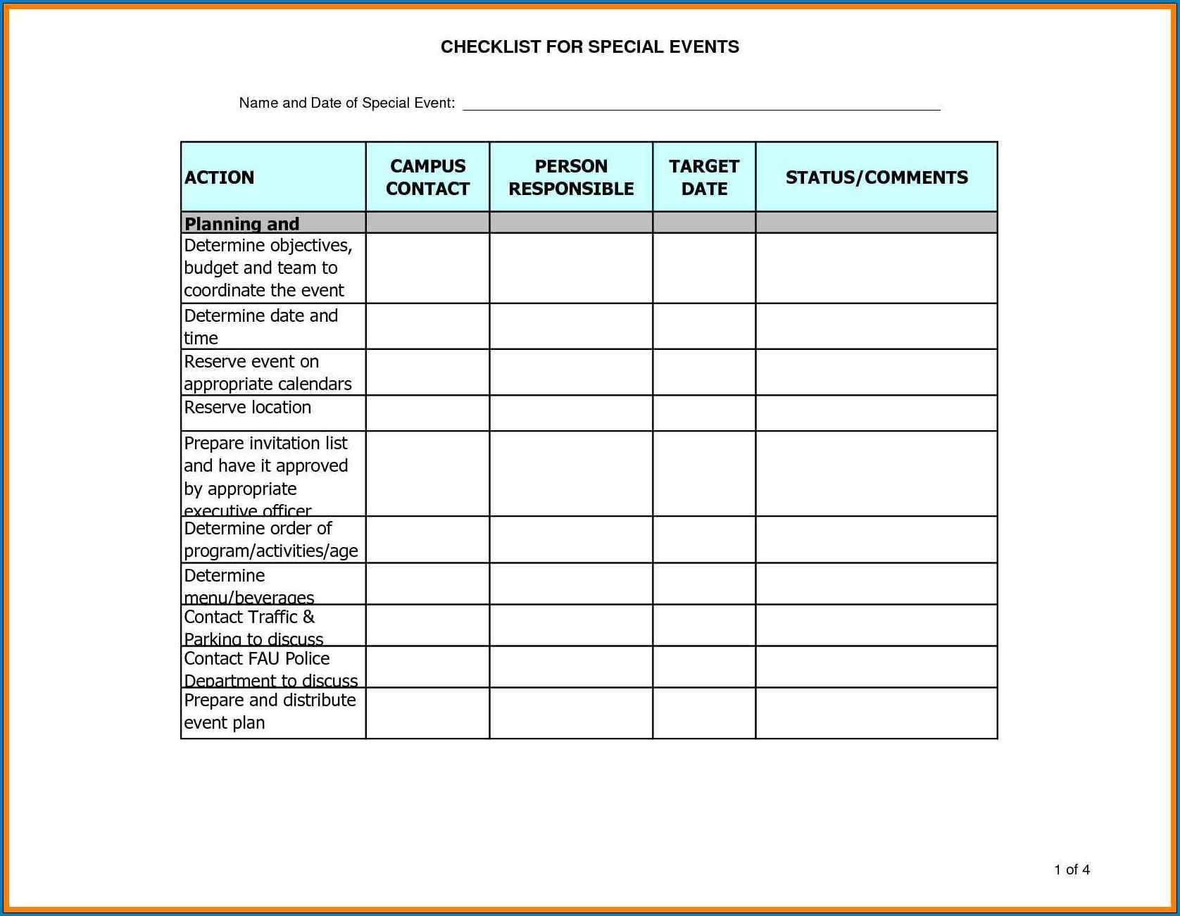 Event Planning Template Example