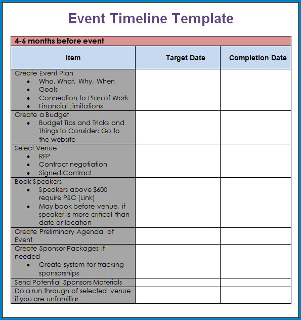Event Planning Timeline Template Example