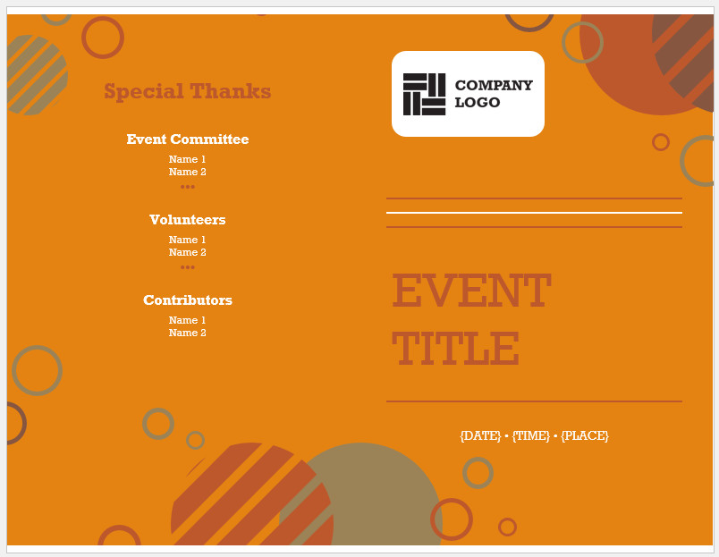 Free Printable Event Program Template Word