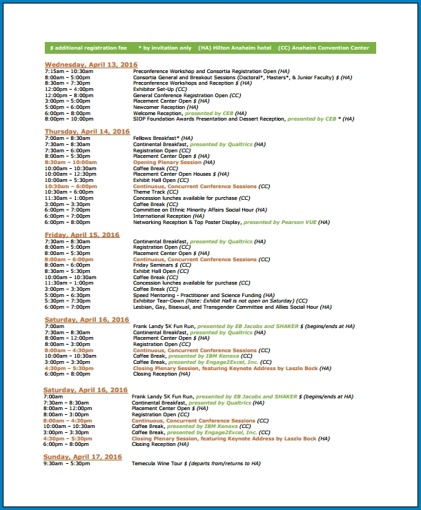 Event Schedule Template Example