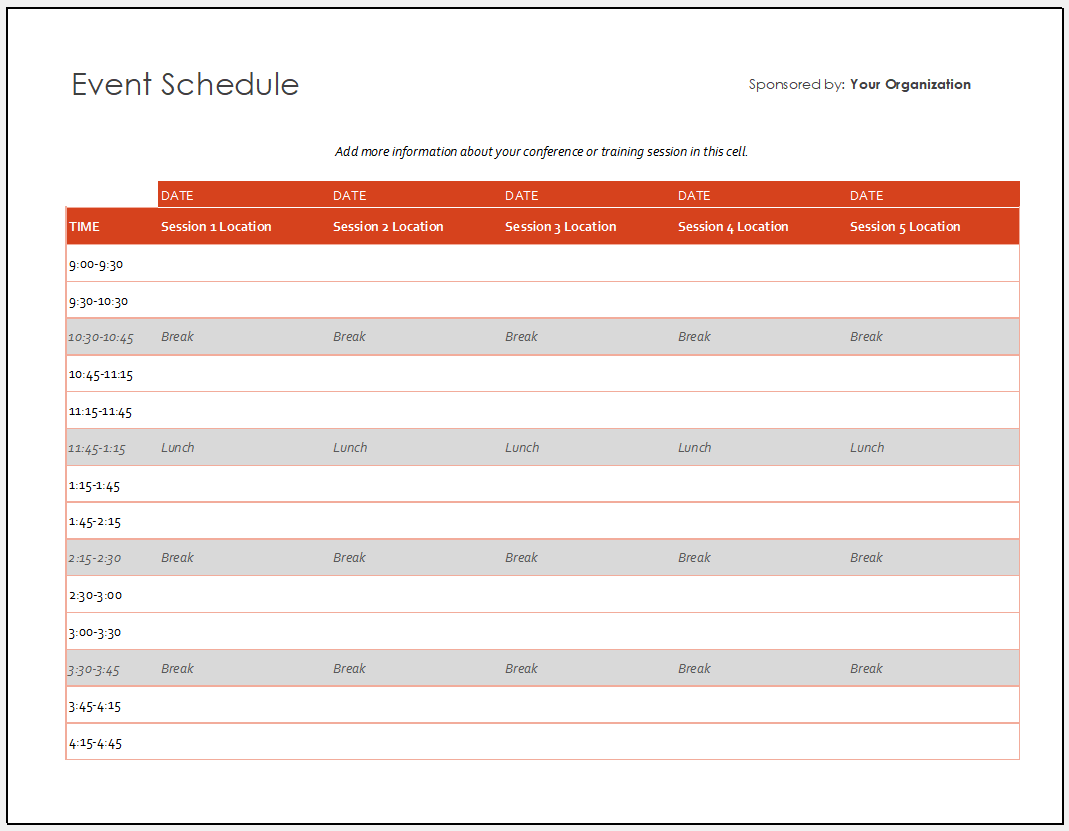 Free Printable Event Schedule Template