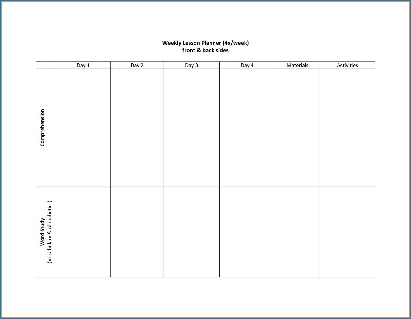 Example of 2 Week Calendar Template