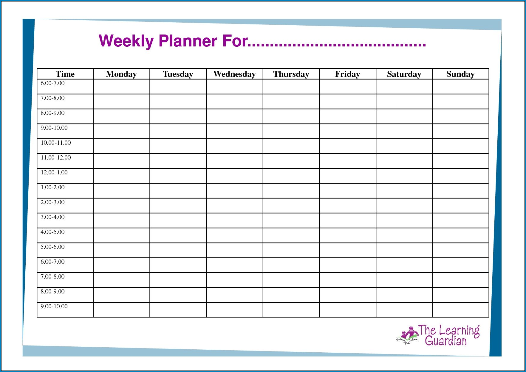 Example of 7 Day Schedule Template