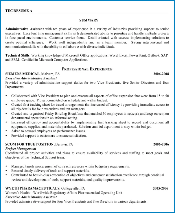 Example of Administrative Assistant Resume Template