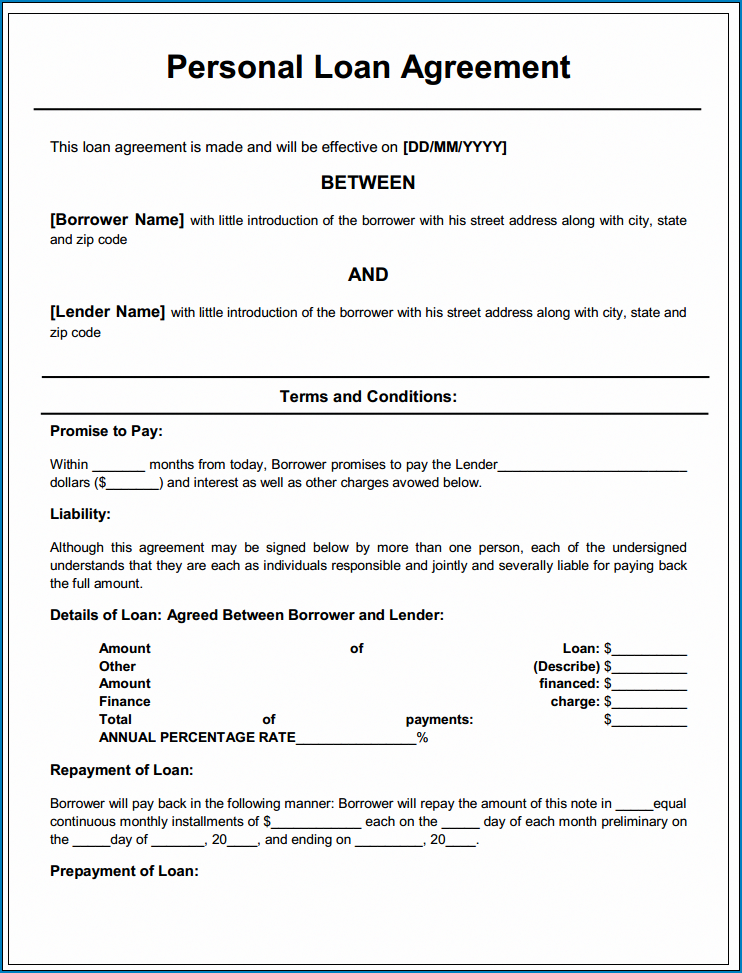 Example of Agreement Between Two Parties For Money