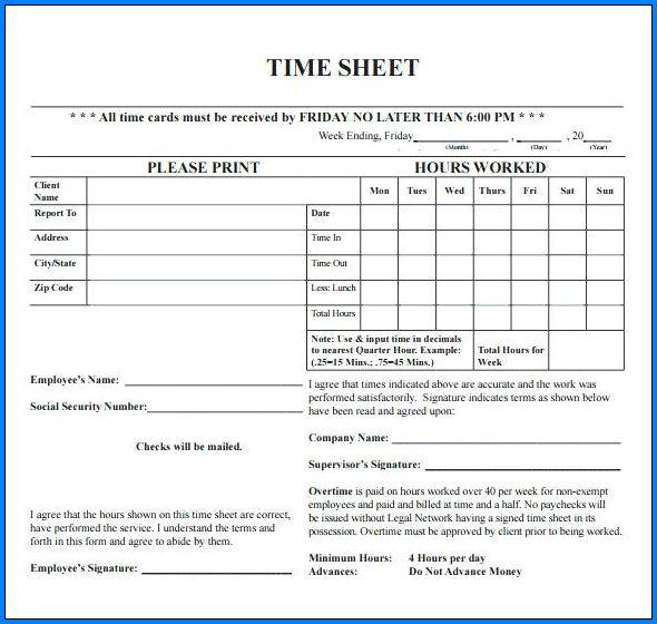 Example of Attorney Timesheet Template