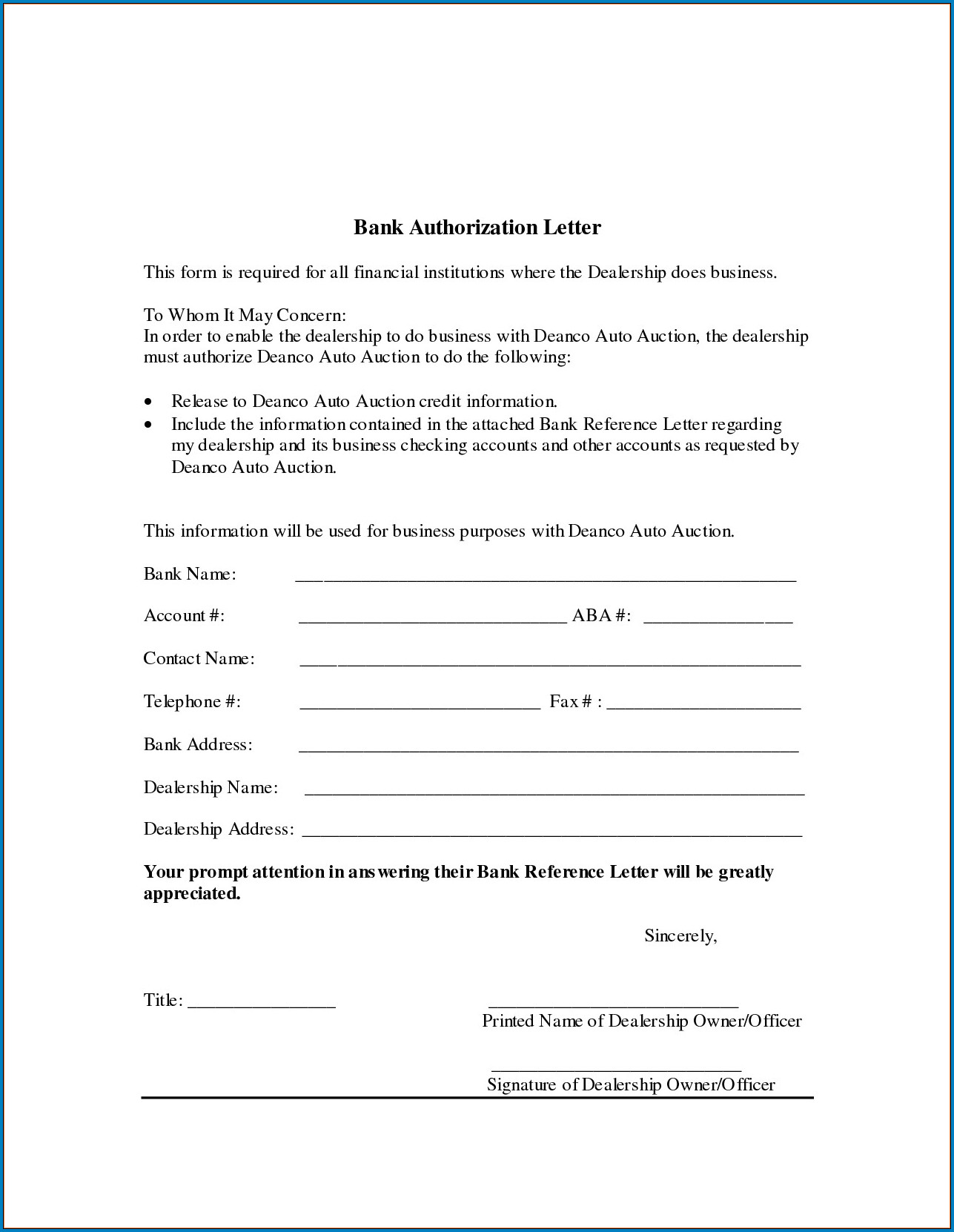 Example of Bank Letter For Direct Deposit