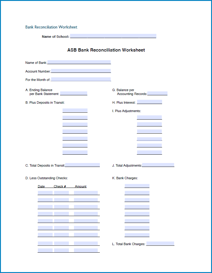 Example of Bank Reconciliation Form