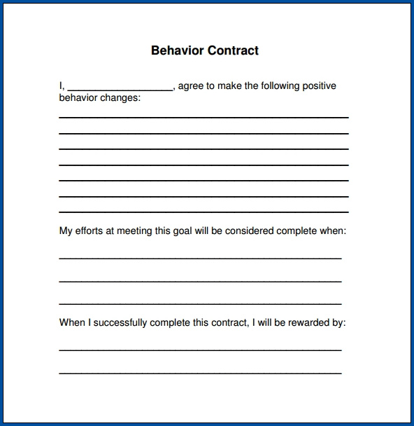 Example of Behavior Contract Template