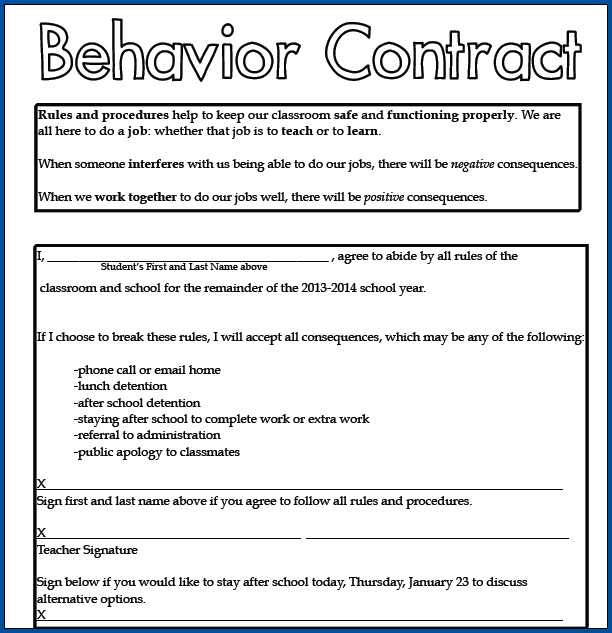 Example of Behavior Contract for Students