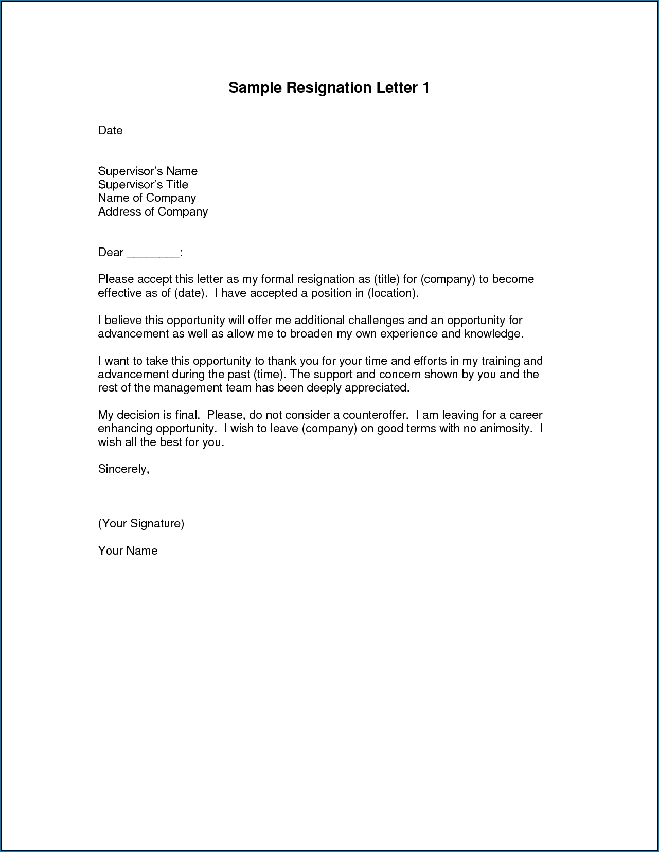 Example of Best Resignation Letter Template