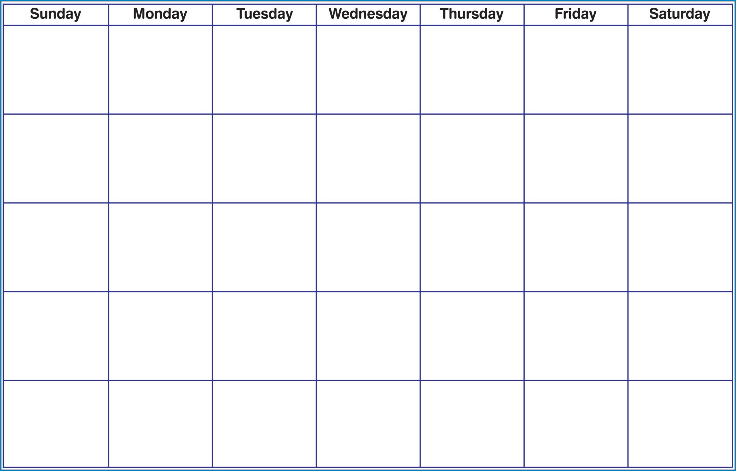 Example of Blank Monthly Calendar Template
