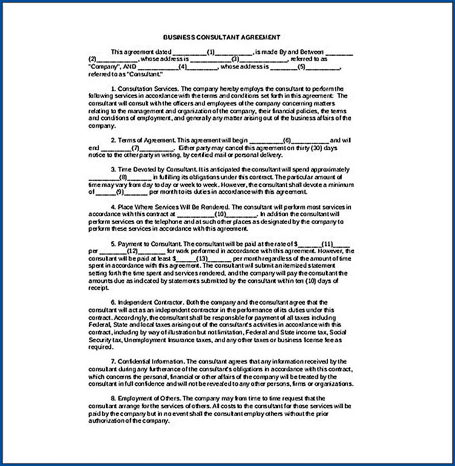 Example of Business Consulting Contract Template