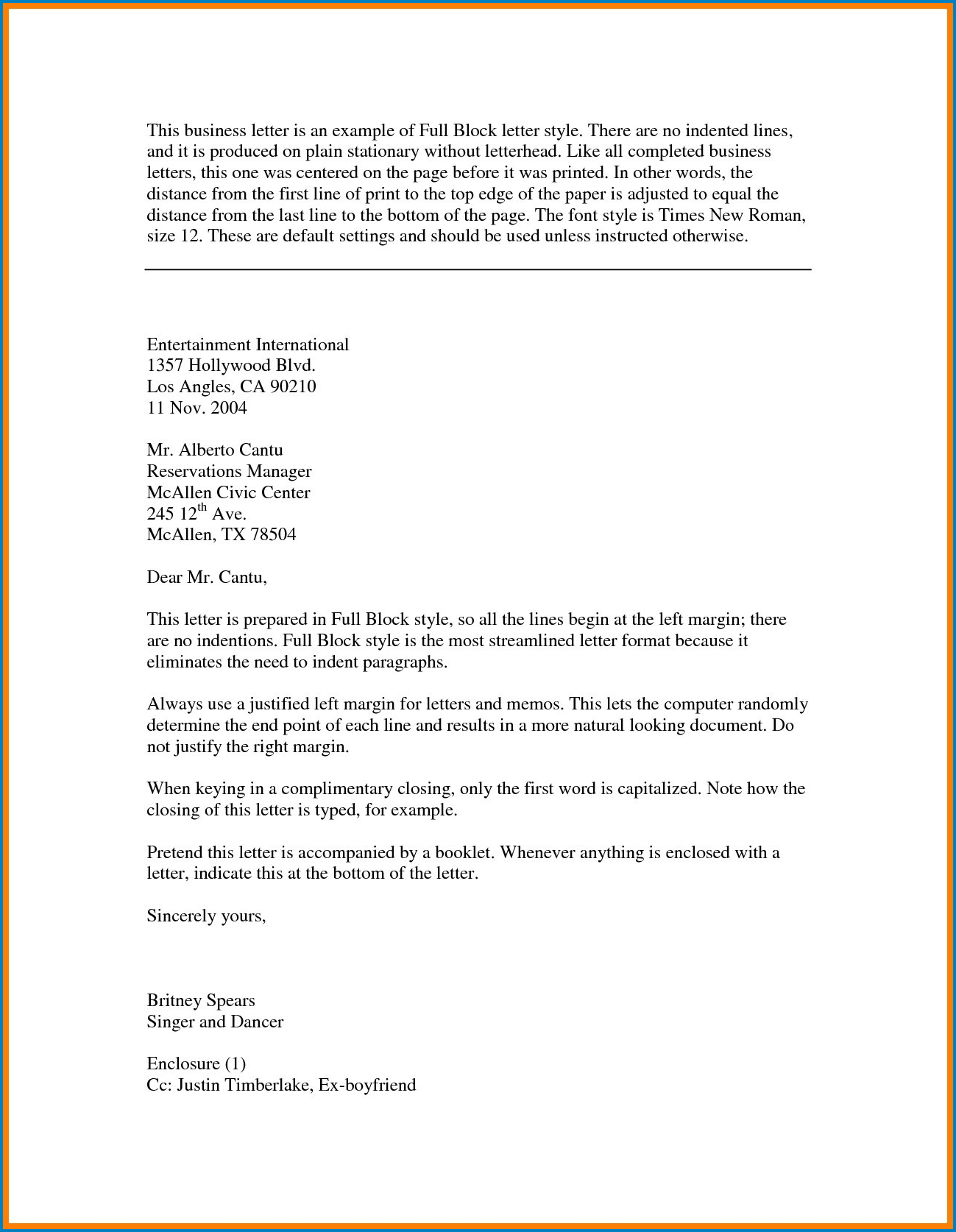 Example of Business Letter Template Word