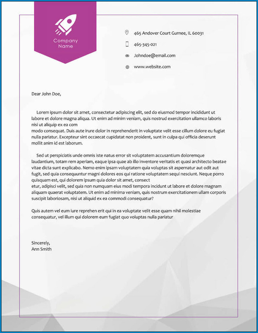 Example of Business Letterhead Design