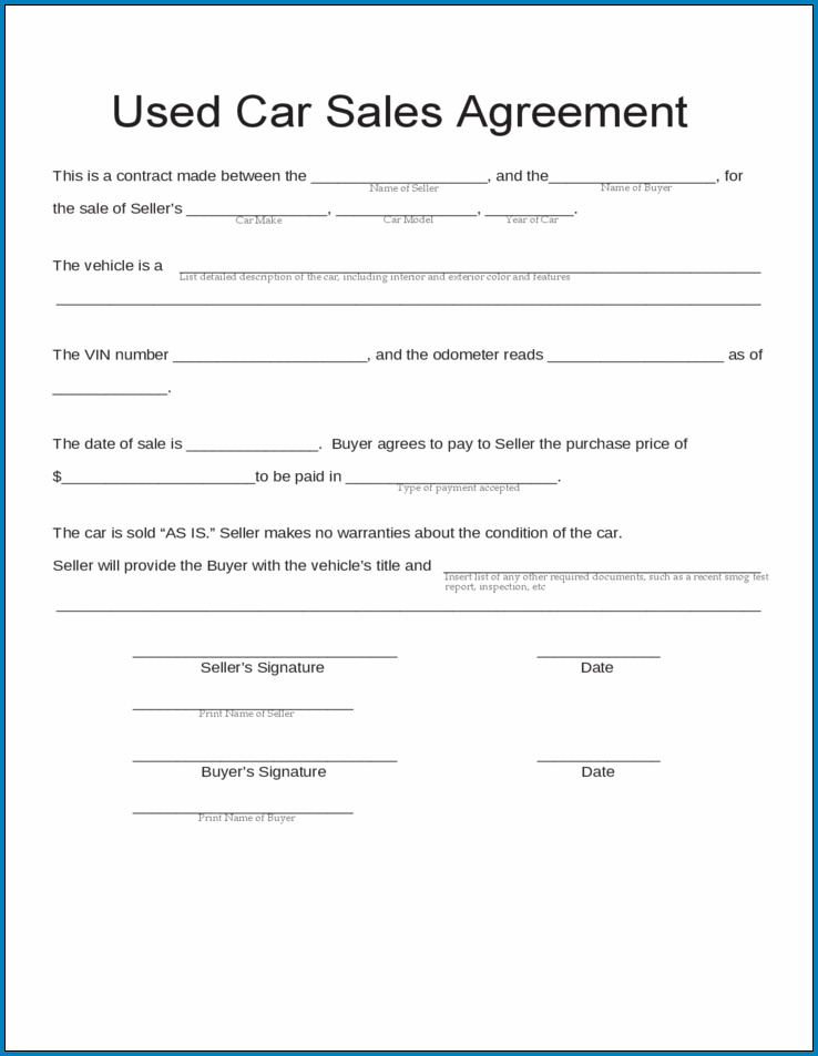 Example of Car Sale Agreement Template