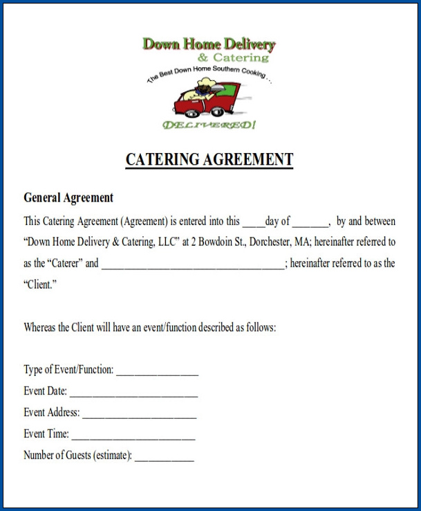 Example of Catering Contract For An Event