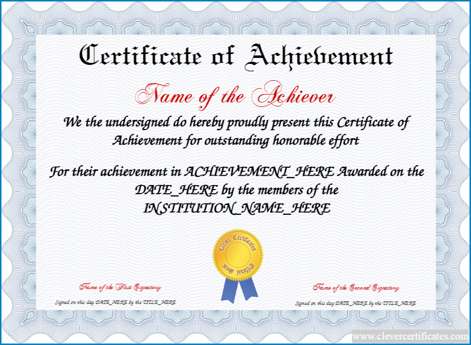 Example of Certificate Of Achievement Template