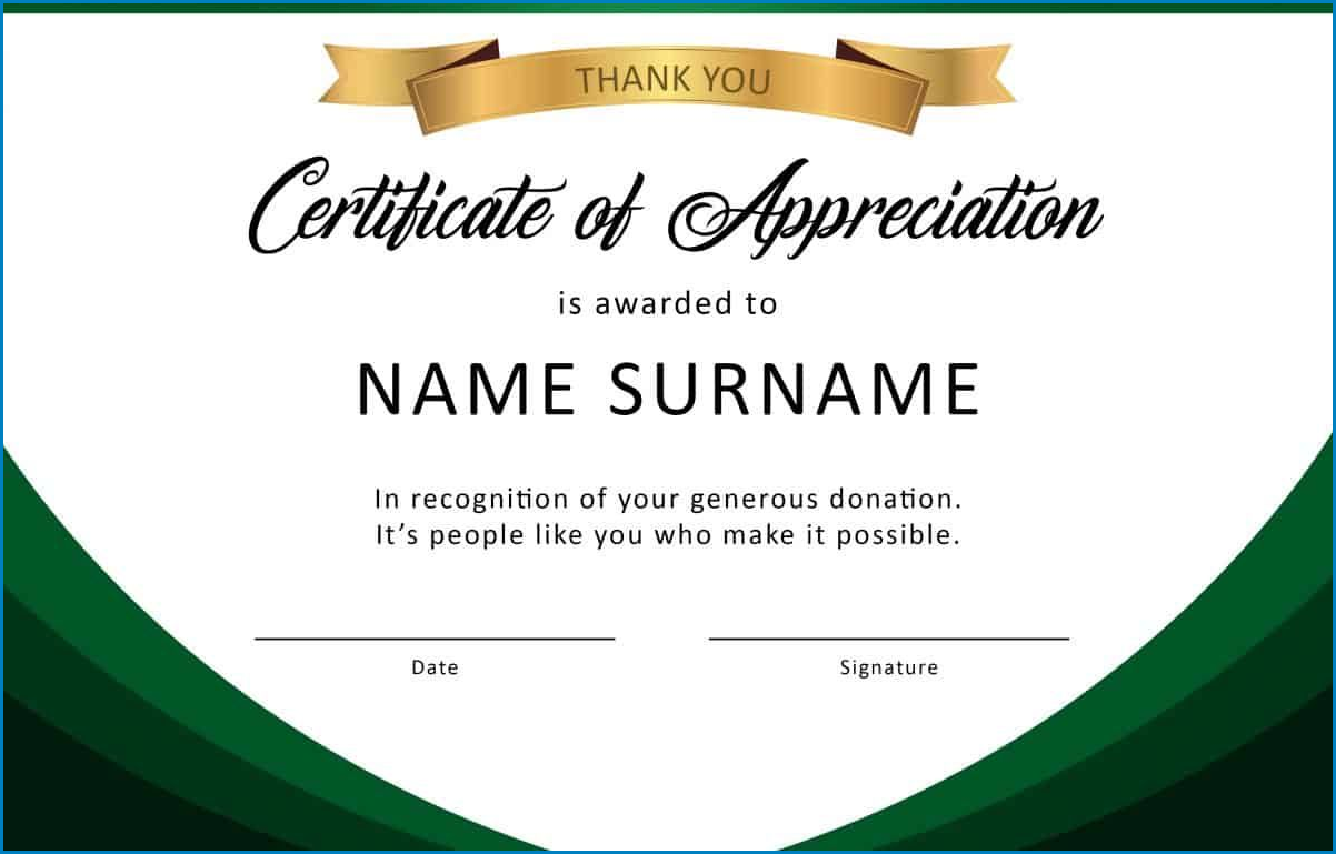 Example of Certificate Of Appreciation Template