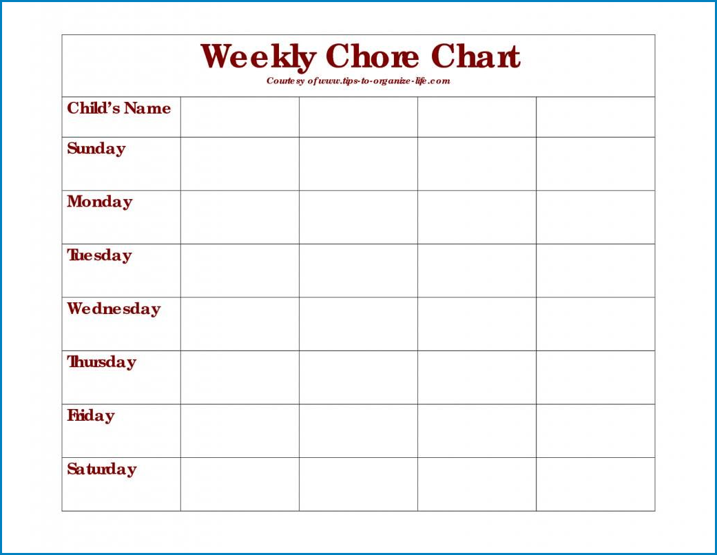 Example of Chore Chart Template